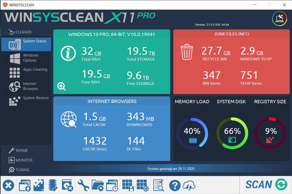 WinSysClean X11 Free 21.0.550 full